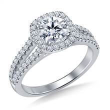 Cathedral Split Shank Floating Cushion Shaped Halo Diamond Engagement Ring in Platinum | B2C Jewels