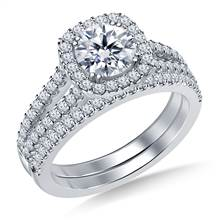 Cathedral Split Shank Floating Cushion Shaped Halo Diamond Ring with Matching Band in 18K White Gold | B2C Jewels