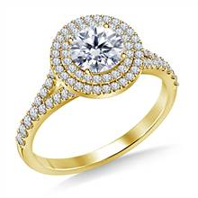 Cathedral Split Shank Floating Double Round Halo Diamond Engagement Ring in 14K Yellow Gold | B2C Jewels