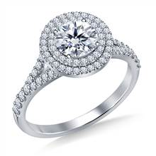 Cathedral Split Shank Floating Double Round Halo Diamond Engagement Ring in Platinum | B2C Jewels
