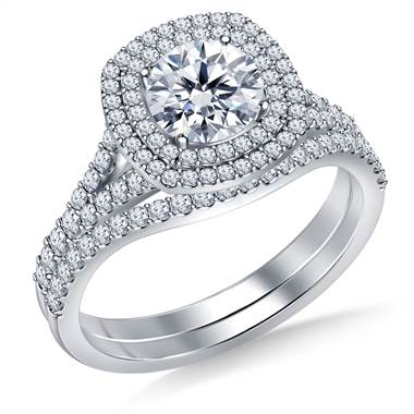 Cathedral Split Shank Floating Dual Cushion Halo Diamond Ring with Matching Band in 14K White Gold