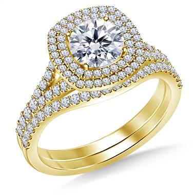 Cathedral Split Shank Floating Dual Cushion Halo Diamond Ring with Matching Band in 14K Yellow Gold