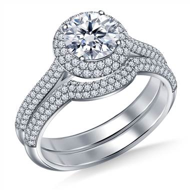 Cathedral Split Shank Floating Dual Cushion Halo Diamond Ring with Matching  Band in 18K White Gold