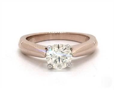 Cathedral Tapered Solitaire Engagement Ring in 4mm 14K Rose Gold (Setting Price)