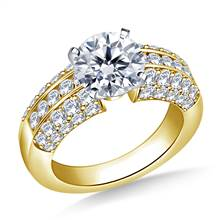 Channel And Pave Set Diamond Engagement Accent Ring in 18K Yellow Gold (1.00 cttw.) | B2C Jewels