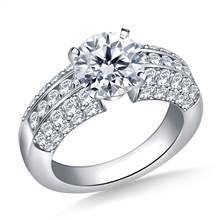 Channel And Pave Set Diamond Engagement Accent Ring in Platinum (1.00 cttw.) | B2C Jewels