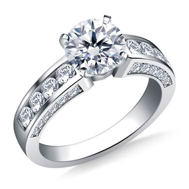 Channel and Pave Set Round Diamond Engagement Ring in 14K White Gold (7/8 cttw.)