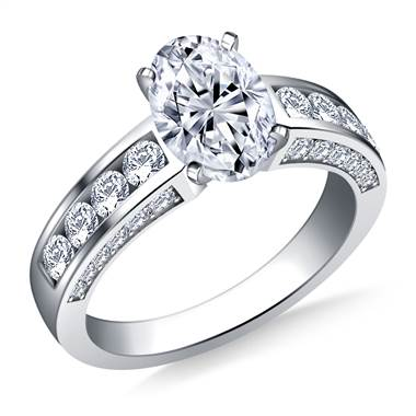 Channel and Pave Set Round Diamond Engagement Ring in 18K White Gold (7/8 cttw.)