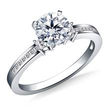 Channel & Prong Set Princess Cut Diamond Engagement Ring in 18K White Gold (1/3 cttw.) | B2C Jewels