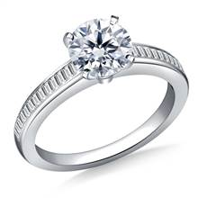 Channel Set Baguette Diamond Engagement Ring in 14K White Gold (3/8 cttw.) | B2C Jewels