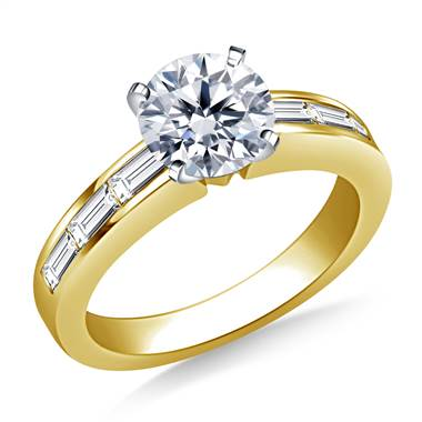 Channel Set Baguette Diamond Engagement Ring in 14K Yellow Gold (3/4 cttw.)