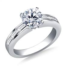 Channel Set Baguette Diamond Engagement Ring in 18K White Gold (3/4 cttw.)   B2C Jewels