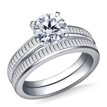 Channel Set Baguette Diamond Ring with Matching Band in 18K White Gold (3/4 cttw.) | B2C Jewels