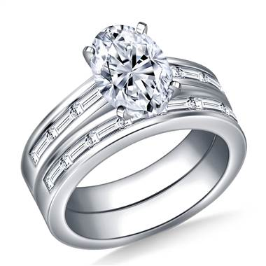 Channel Set Baguette Diamond Ring with Matching Band in Platinum (1 3/8 cttw.)