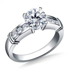 Channel Set Diamond Accent Engagement Ring Crafted in 18K White Gold (1/6 cttw.) | B2C Jewels