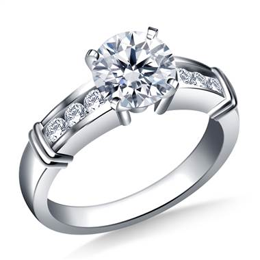 Channel Set Diamond Accent Engagement Ring Crafted in Platinum (1/6 cttw.)