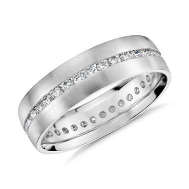 """Channel-Set Diamond Eternity Ring in 14k White Gold (6mm)"""