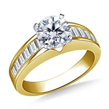 Channel Set Graduated Baguette Diamond Engagement Ring in 18K Yellow Gold (1.00 cttw.) | B2C Jewels