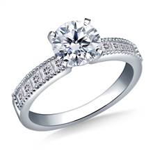 Channel-Set Princess Cut Diamond Engagement Ring in 14K White Gold (1/2 cttw) | B2C Jewels