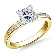Channel Set Princess Cut Diamond Engagement Ring in 14K Yellow Gold (1/8 cttw.) | B2C Jewels