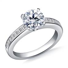 Channel Set Princess Cut Diamond Engagement Ring in 18K White Gold (3/8 cttw.) | B2C Jewels