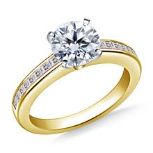 Channel Set Princess Cut Diamond Engagement Ring in 18K Yellow Gold (3/8 cttw.) | B2C Jewels