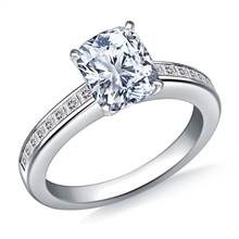 Channel Set Princess Cut Diamond Engagement Ring in Platinum (3/8 cttw.) | B2C Jewels
