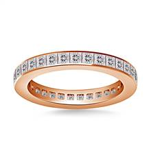 Channel Set Princess Cut Diamond Eternity Ring in 18K Rose Gold (1.40 - 1.65 cttw.) | B2C Jewels