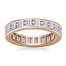 Channel Set Princess Cut Diamond Eternity Ring in 18K Rose Gold (3.40 - 4.08 cttw) | B2C Jewels
