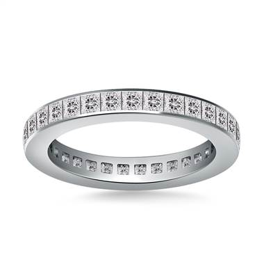Channel Set Princess Cut Diamond Eternity Ring in 18K White Gold (1.40 - 1.65 cttw.)