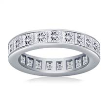 Channel Set Princess Cut Diamond Eternity Ring in 18K White Gold (3.40 - 4.08 cttw) | B2C Jewels