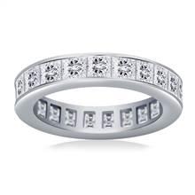 Channel Set Princess Cut Diamond Eternity Ring in 18K White Gold (3.40 - 4.08 cttw) | B2C Jewels