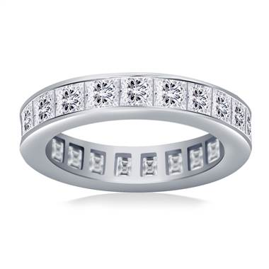 Channel Set Princess Cut Diamond Eternity Ring in 18K White Gold (3.40 - 4.08 cttw)