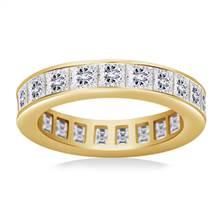Channel Set Princess Cut Diamond Eternity Ring in 18K Yellow Gold (3.40 - 4.08 cttw)   B2C Jewels