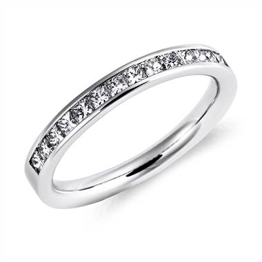 """Channel Set Princess Cut Diamond Ring in 14k White Gold (1/2 ct. tw.)"""