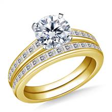 Channel Set Princess Cut Diamond Ring with Matching Band in 14K Yellow Gold (3/4 cttw.) | B2C Jewels
