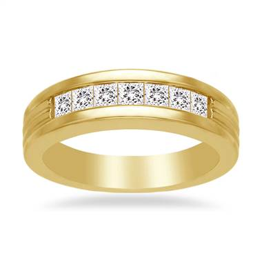 Channel Set Princess Diamond Men's Band in 18K Yellow Gold (1 1/5 cttw.)