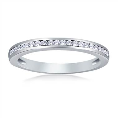 Channel Set Round Diamond Band in 14K White Gold (1/5 cttw)