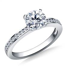 Channel Set Round Diamond Engagement Ring in 14K White Gold (1/8 cttw.) | B2C Jewels