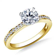 Channel Set Round Diamond Engagement Ring in 18K Yellow Gold (1/8 cttw.) | B2C Jewels