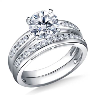 Channel Set Round Diamond Ring with Matching Band in 14K White Gold (3/8 cttw.)