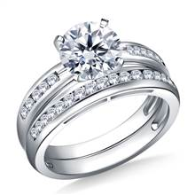 Channel Set Round Diamond Ring with Matching Band in 18K White Gold (3/8 cttw.) | B2C Jewels