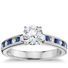 Channel Set Sapphire and Diamond Engagement Ring in 18k White Gold (1/6 ct. tw.) | Blue Nile