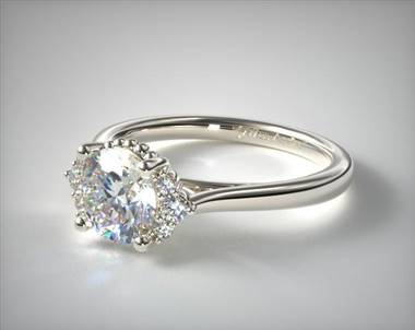 Charming with Bead Accents Engagement Ring in 14K White Gold 2.2mm Width Band (Setting Price)