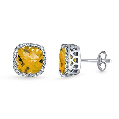 Citrine Cushion Cut Gemstone Diamond Stud Earrings In 14k White Gold 7mm B2c Jewels 12220