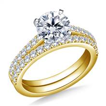 Classic Cathedral Prong Set Diamond Ring with Matching Band in 14K Yellow Gold (5/8 cttw.) | B2C Jewels