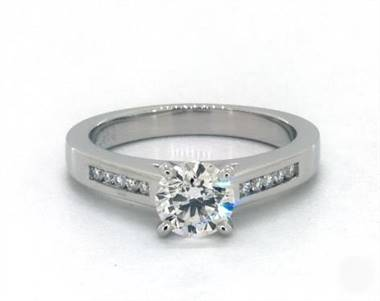 Classic Channel-Set Engagement Ring in 18K White Gold 2.6mm Width Band (Setting Price)