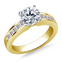Classic Channel Set Princess Cut Diamond Engagement Ring in 18K Yellow Gold (1/2 cttw.)   B2C Jewels