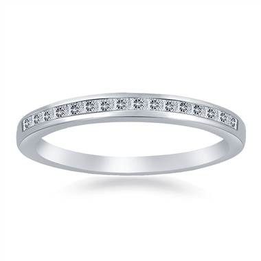 Classic Channel Set Princess Diamond Band in 14K White Gold (1/6 cttw.)