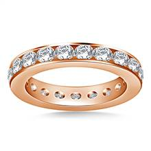 Classic Channel Set Round Diamond Eternity Ring in 18K Rose Gold (1.90 - 2.30 cttw.) | B2C Jewels